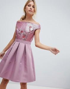 Платье для выпускного со спущенными плечами и отделкой пайетками Little Mistress - Розовый