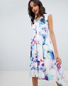 Платье миди для выпускного с принтом Closet London - Мульти