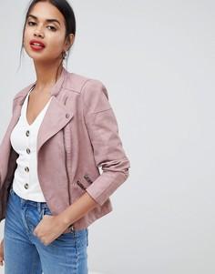 Байкерская куртка из искусственной кожи Only - Розовый