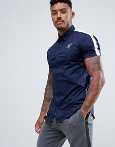Темно-синяя рубашка с короткими рукавами и белыми полосками по бокам SikSilk - Темно-синий
