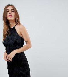 Платье с отделкой в стиле перьев Miss Selfridge Petite - Черный