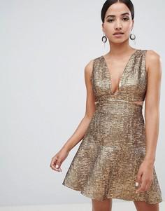 Платье с эффектом металлик Forever Unique - Золотой