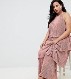 Ярусное плиссированное платье макси ASOS DESIGN Curve - Бежевый