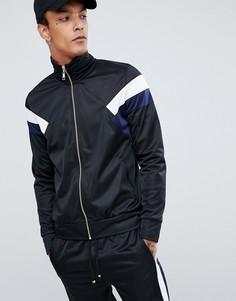 Черная спортивная куртка с синими полосками по бокам Criminal Damage - Черный