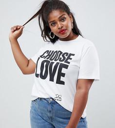 Белая футболка из органического хлопка Help Refugees Choose Love Curve - Белый