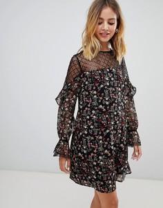 Свободное платье с прозрачными вставками и цветочным принтом New Look - Мульти