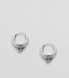 Массивные серебряные серьги-кольца с орнаментом Kingsley Ryan - Серебряный
