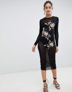 Сетчатое платье миди с цветочной вышивкой Glamorous - Черный