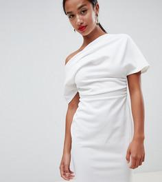 Платье-футляр мини на одно плечо со складками ASOS DESIGN Petite - Белый