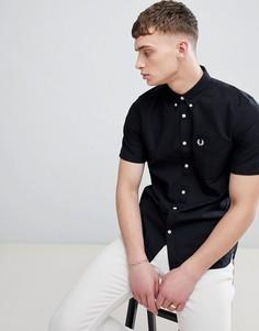 Черная оксфордская рубашка с короткими рукавами Fred Perry - Черный