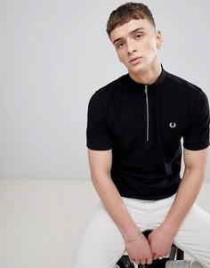 Черная футболка-поло с воротником-стойкой Fred Perry - Черный