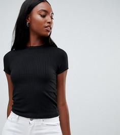 Черная футболка узкого кроя в рубчик ASOS DESIGN Tall - Черный