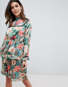 Бархатное платье миди с цветочным узором Vila - Мульти