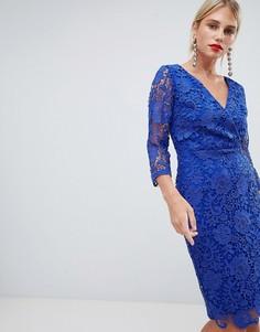 Ярко-синее платье-футляр с запахом и вязаным кружевом Paper Dolls - Синий