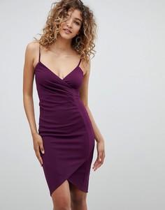 Платье мини на бретельках с запахом AX Paris - Фиолетовый