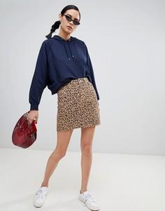 Джинсовая юбка с леопардовым принтом New Look - Коричневый