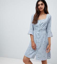 Чайное платье с пуговицами и винтажным цветочным принтом Glamorous Tall - Серый