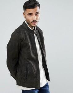 Серая кожаная куртка Goosecraft Austin - Коричневый