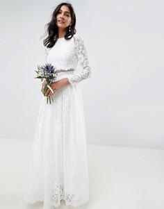 Кружевное свадебное платье макси с укороченным топом и длинными рукавами ASOS EDITION - Белый
