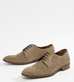 Бежевые замшевые туфли для широкой стопы на шнуровке Dune - Бежевый