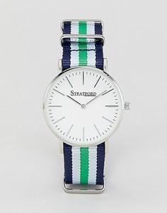 Часы с серебристым циферблатом и парусиновым ремешком Stratford - Серебряный