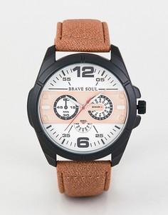 Часы с хронографом и светло-коричневым ремешком Brave Soul - Рыжий