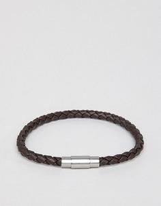 Коричневый кожаный плетеный браслет BOSS Blaine - Коричневый