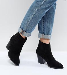 Ботинки челси в стиле вестерн на среднем каблуке QUPID - Черный