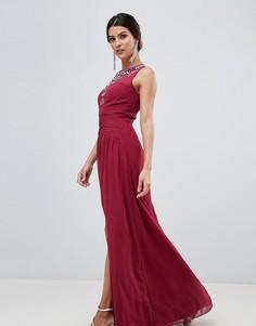 Платье макси с перекрученной отделкой и разрезом Little Mistress - Красный