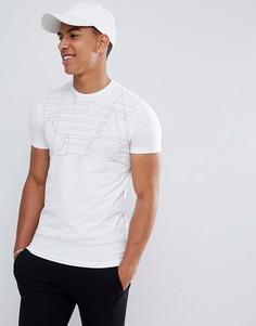 Белая приталенная футболка с графическим логотипом Emporio Armani - Белый
