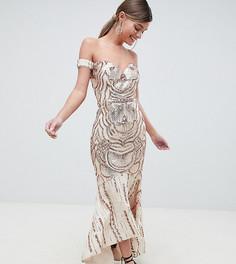 Декорированное пайетками платье макси с открытыми плечами и вырезом в форме сердца Bariano - Золотой