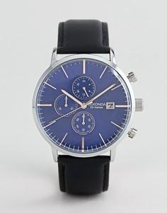 Часы с синим кожаным ремешком и хронографом Sekonda эксклюзивно для ASOS - Черный