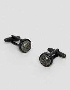 Черные запонки с инкрустацией пиритом Icon Brand - Черный