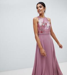Платье миди для выпускного с отделкой пайетками Little Mistress Tall - Розовый