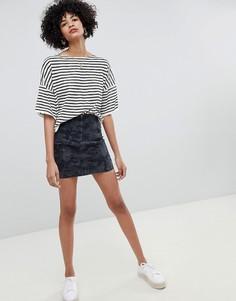 Джинсовая мини-юбка с камуфляжным принтом Free People Modern Femme - Черный
