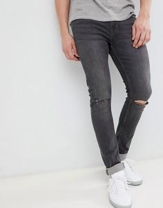Темно-серые джинсы скинни с прорехами на коленях Jack & Jones - Серый