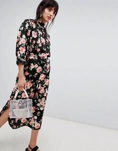 Платье миди с цветочным принтом и высоким воротом Walter Baker - Черный