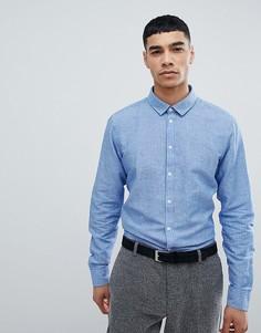 Рубашка с длинными рукавами с добавлением хлопка Jefferson - Синий