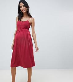 Свободное платье миди на пуговицах с квадратным вырезом ASOS DESIGN Maternity - Красный