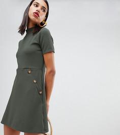 Платье цвета хаки на пуговицах с высоким воротом и карманом Boohoo - Серый