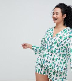 Классическая пижама с шортами из 100% модала с принтом ASOS DESIGN Curve - Мульти