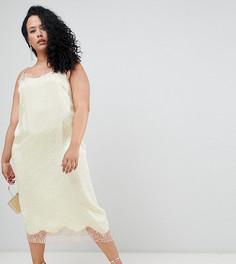 Жаккардовое платье-комбинация с кружевными вставками ASOS DESIGN Curve - Желтый