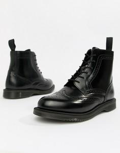 Черные кожаные ботильоны на плоской подошве со шнуровкой Dr.Martens Delphine - Черный