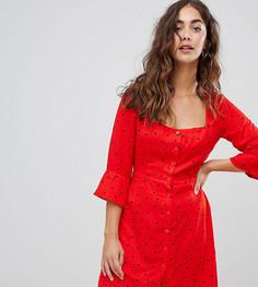 Чайное платье в горошек с пуговицами Glamorous - Красный