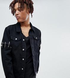 Черная джинсовая куртка с английскими булавками Sixth June эксклюзивно для ASOS - Черный