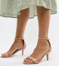 Бежевые босоножки для широкой стопы на каблуке-рюмочке Glamorous - Бежевый