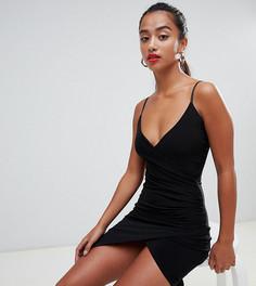 Черное платье мини с запахом Missguided petite - Черный