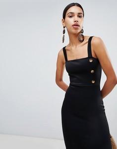 Платье миди на пуговицах Boohoo - Черный