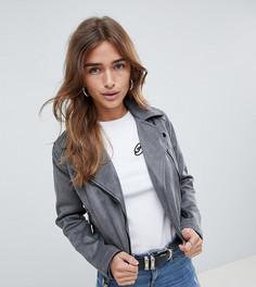 Байкерская куртка из искусственной замши New Look Petite Olivia - Серый