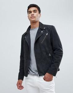 Кожаная байкерская куртка Selected Homme - Серый